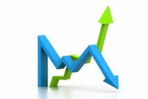 stock-market-arrows-gain-loss-stock-photo